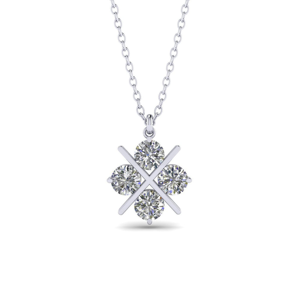 14k White Gold Cross Clover Diamond Pendant Necklace - 0.60 carat  D-SI1 Natural - Custom Made