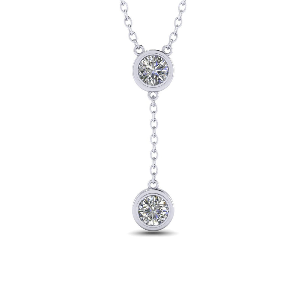 PEN-14 14k White Gold Dangling Drop Bezel Diamond Pendant Necklace - 0.60 carat  D-SI1 Natural