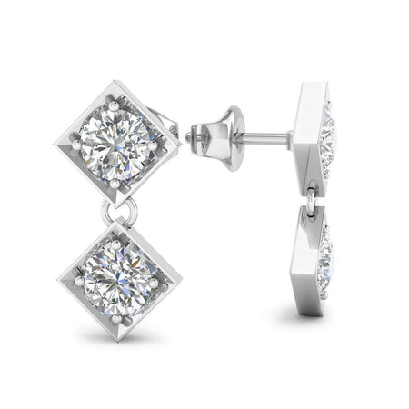 EAR-14-NAT-D-SI1-EX 14k White Gold Dangling Squares Diamond Earrings - 0.20 carat D-SI1 Natural, Screw Backs