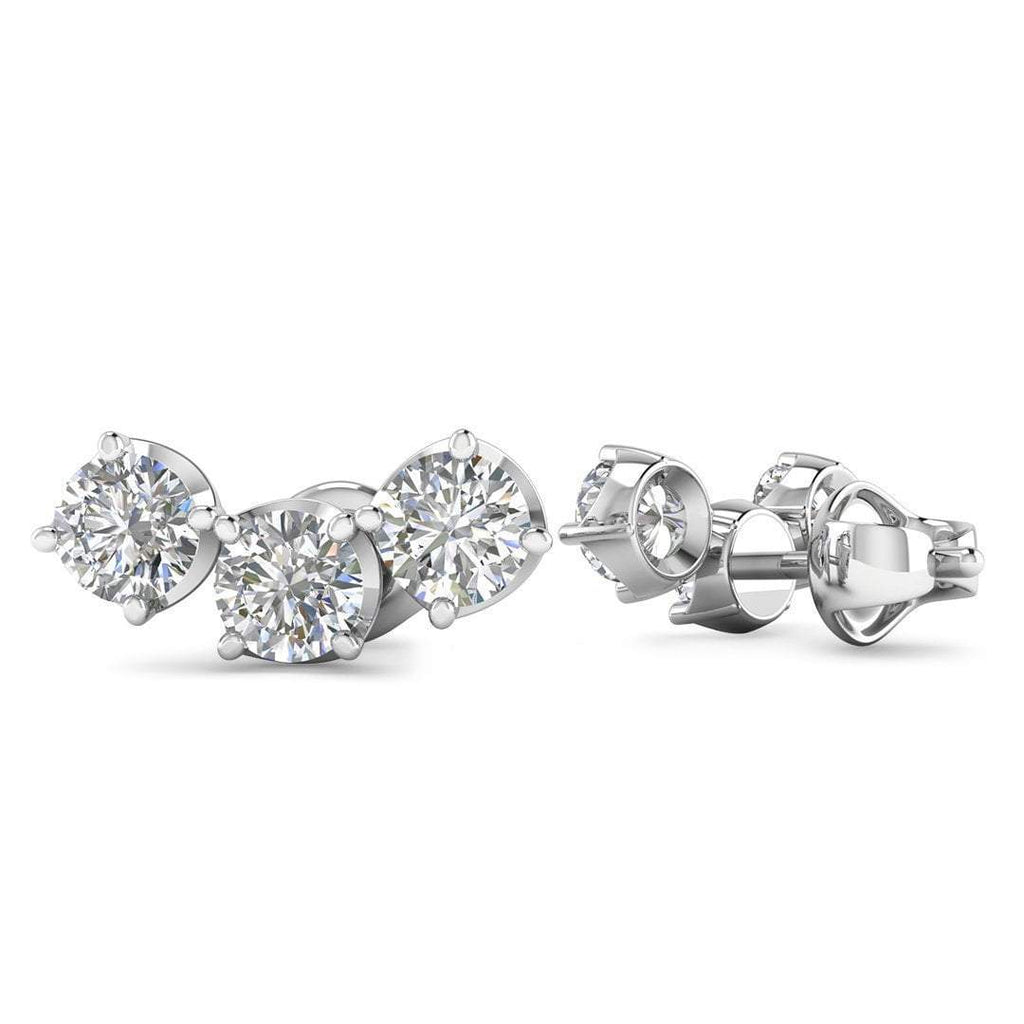 14k White Gold Diamond 3-Stone Trilogy Stud Earrings - 0.60 carat D-SI1 Natural, Butterfly Push-Backs - Custom Made