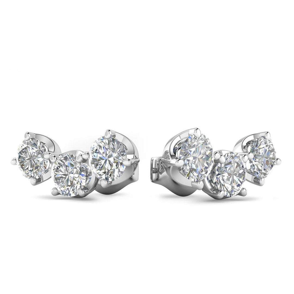 EAR-14-NAT-D-SI1-EX 14k White Gold Diamond 3-Stone Trilogy Stud Earrings - 1.80 carat D-SI1 Natural, Screw Backs