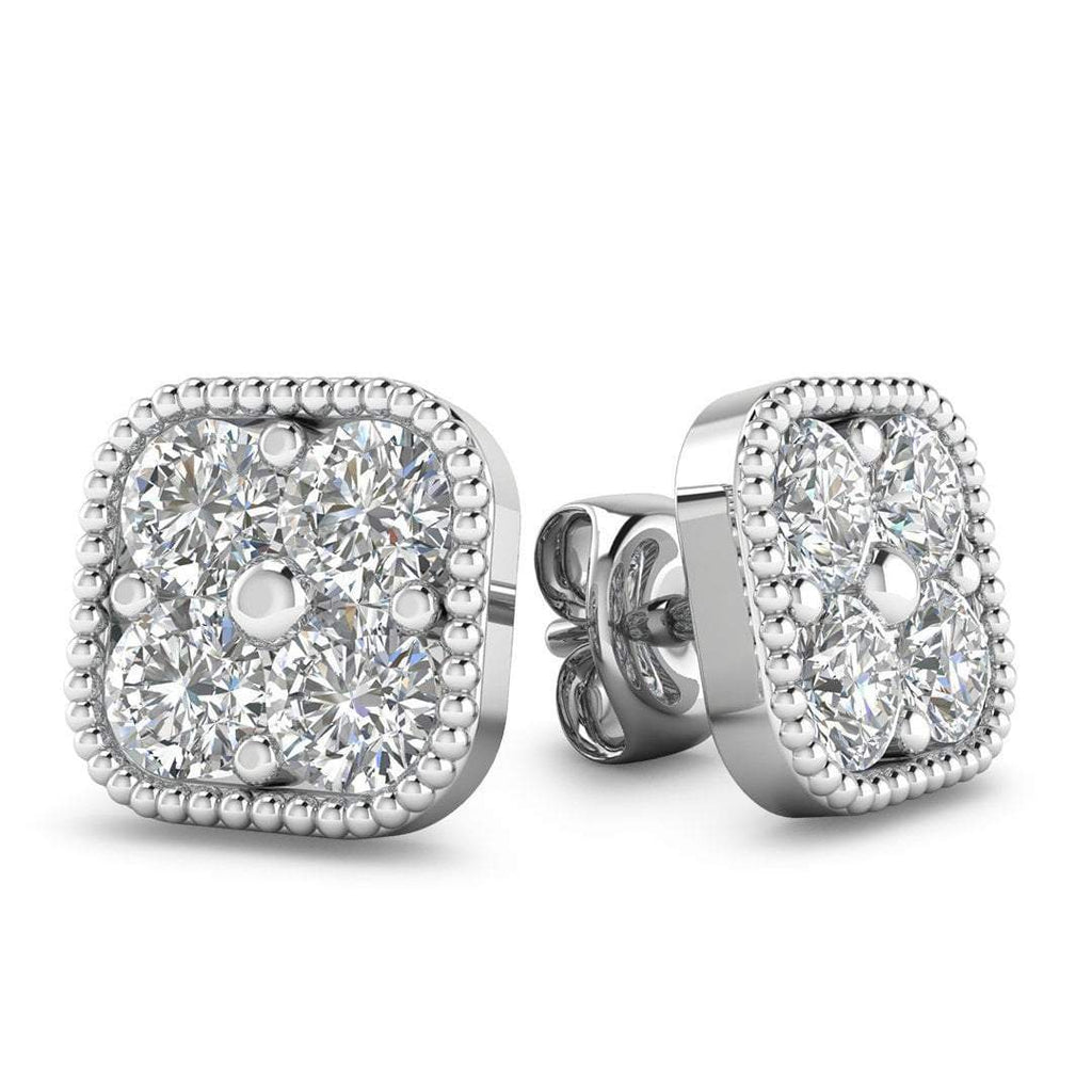 EAR-14-NAT-D-SI1-EX 14k White Gold Diamond Cluster Stud Earrings - 2.40 carat D-SI1 Natural, Butterfly Push-Backs