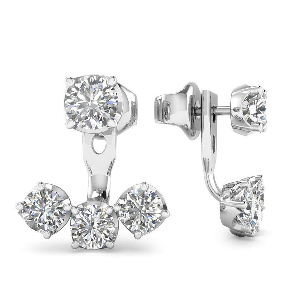 14k White Gold Diamond Detachable Trilogy Stud Earrings - 1.10 carat D-SI1 Natural, Butterfly Push-Backs - Custom Made