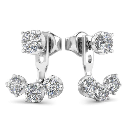 EAR-14-NAT-D-SI1-EX 14k White Gold Diamond Detachable Trilogy Stud Earrings - 1.10 carat D-SI1 Natural, Butterfly Push-Backs