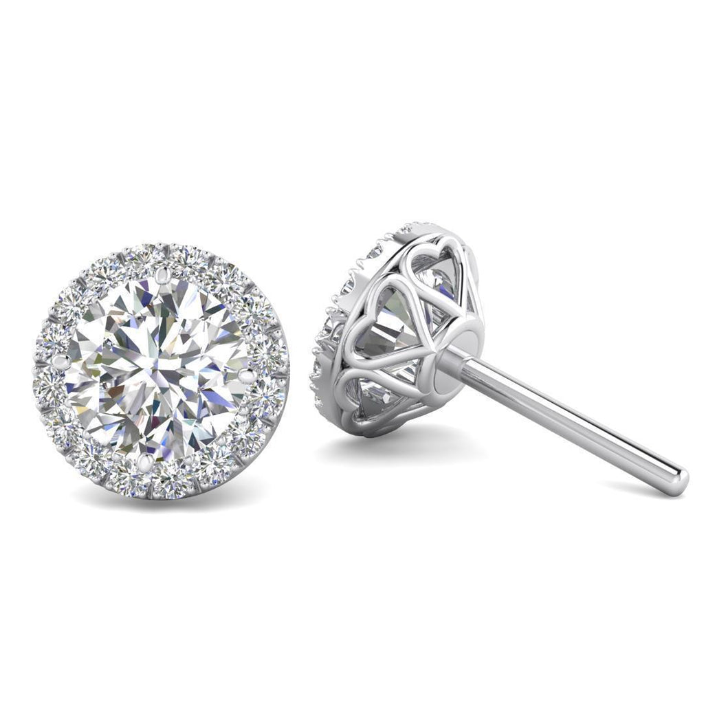 14k White Gold Diamond Halo Hearts Stud Earrings - 2.00 carat D-SI1 Natural, Screw Backs - Custom Made