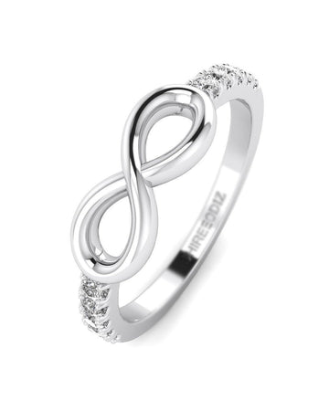 Hidden 14K White Gold Diamond Promise Ring For Her - Infinity