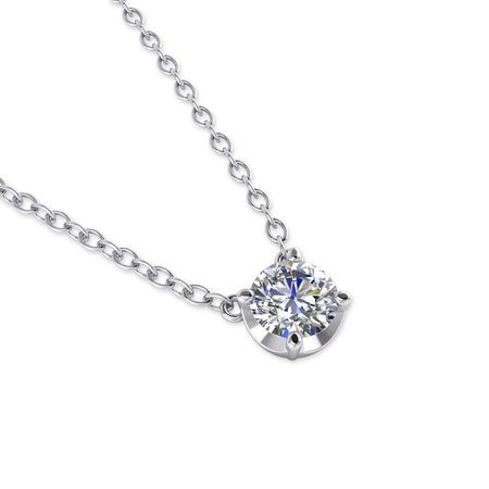 PEN-14 14k White Gold Diamond Solitaire Pendant Necklace - 0.25 carat D-SI1 Natural