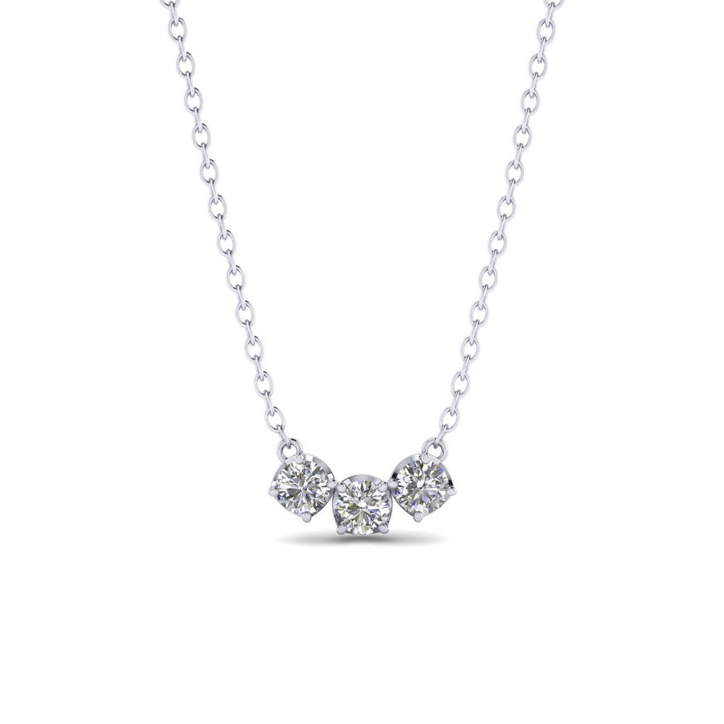 PEN-14 14k White Gold Diamond Trilogy Necklace - 0.45 carat  D-SI1 Natural