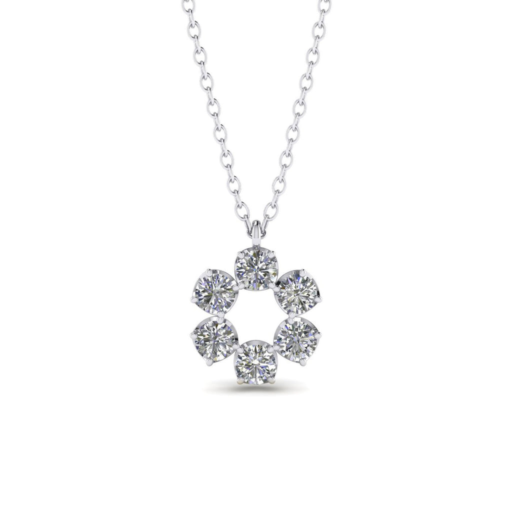 PEN-14 14k White Gold Eternity Circle Halo Diamond Pendant Necklace - 0.90 carat  D-SI1 Natural