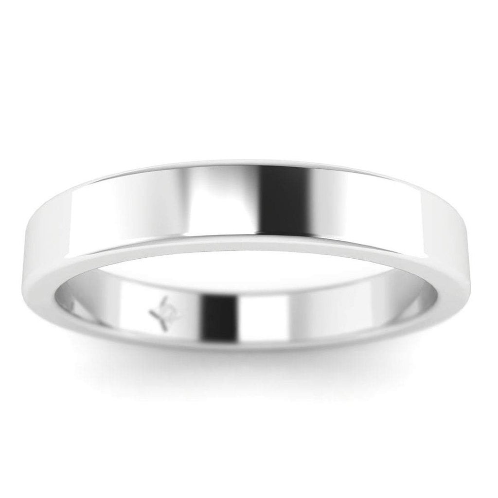 14k White Gold Flat Wide Classic Plain Wedding Band Ring - Custom Made