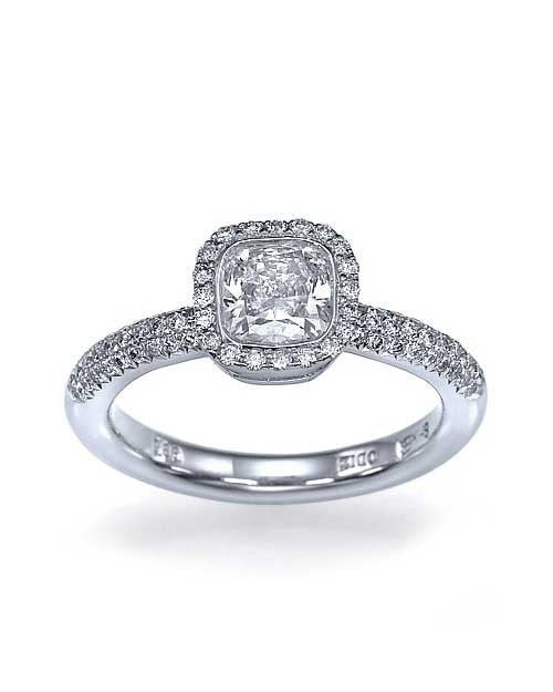 14k White Gold Halo Cushion Cut Engagement Ring Pave Set - 1ct Diamond and matching band - Custom Made