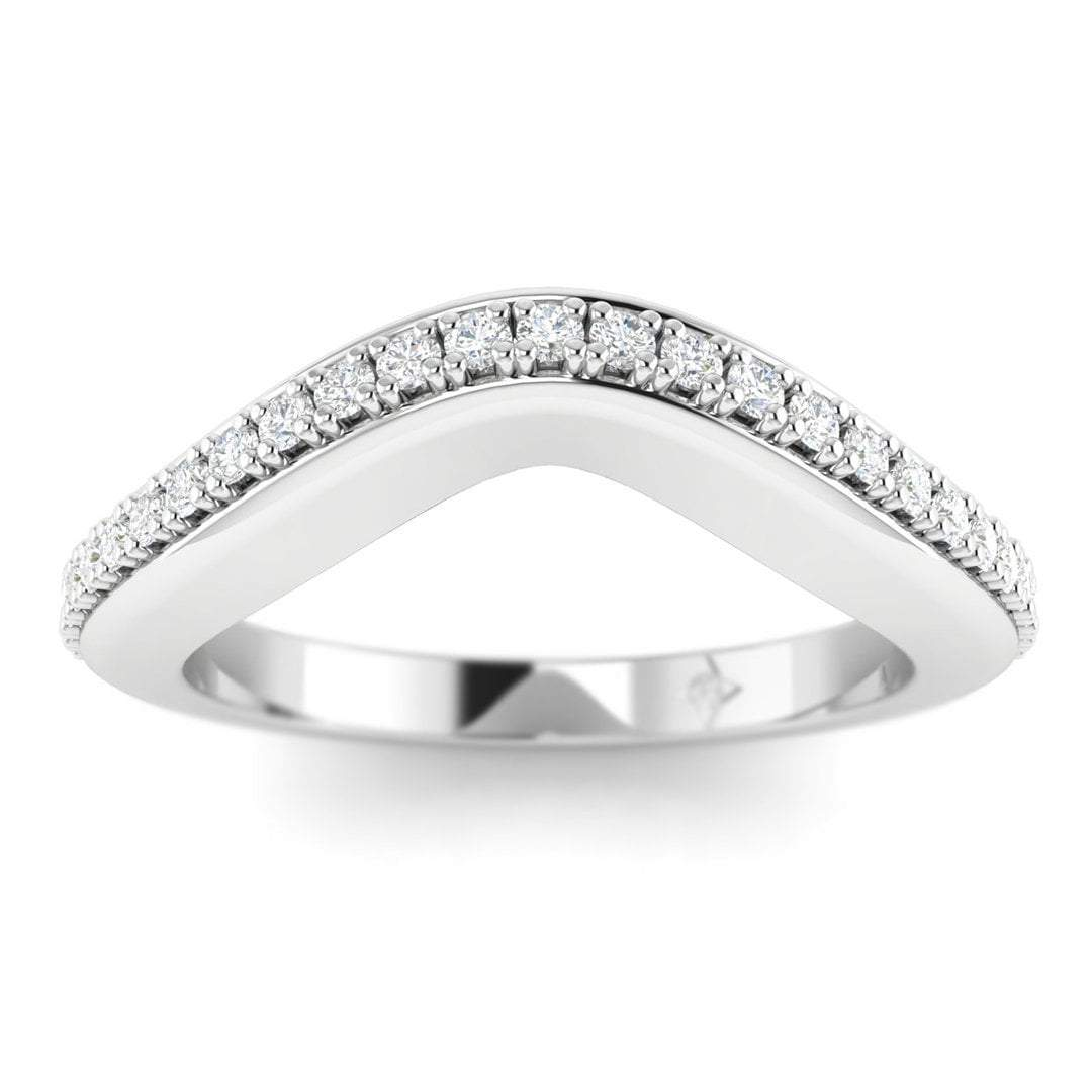 14k White Gold Pave Curved Women's Diamond Wedding Band Ring: White Gold Diamond Curved Wedding Bands At Reisefeber.org