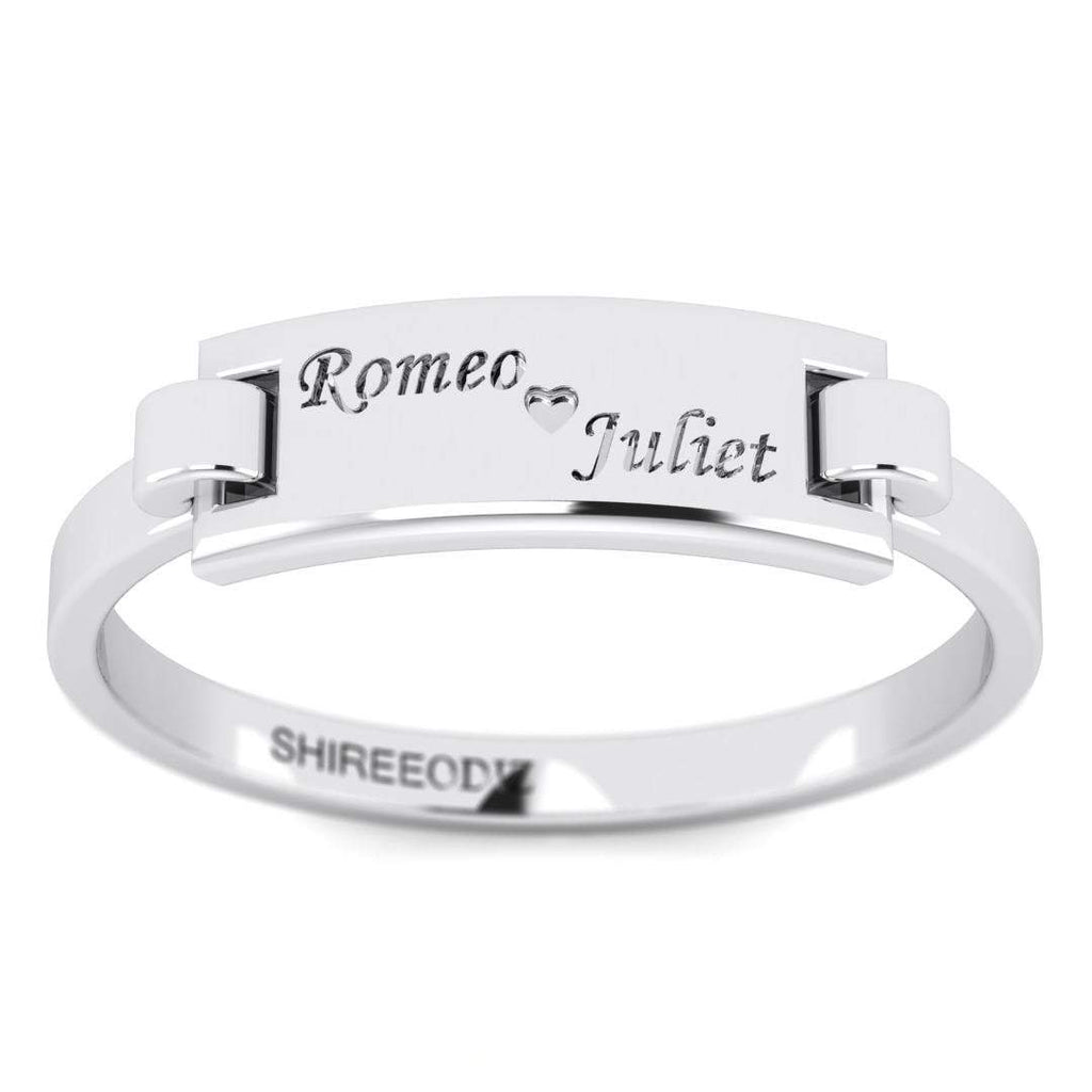14K White Gold Personalized Promise Ring - Custom Made