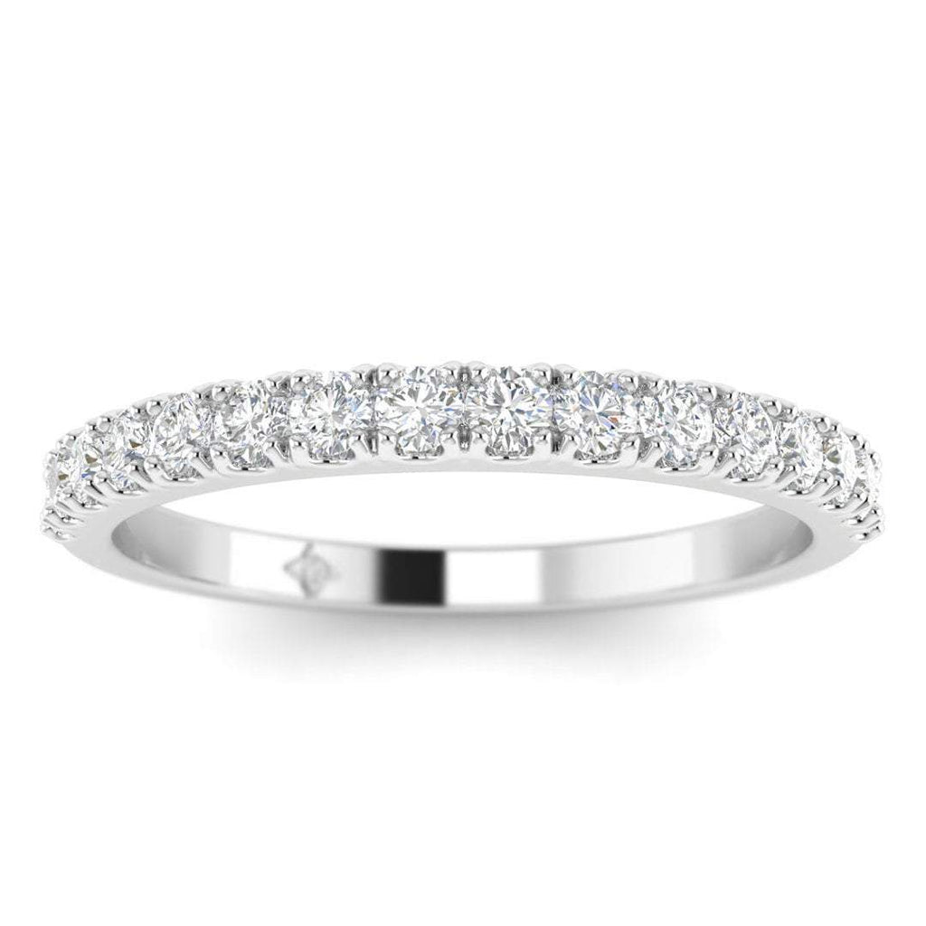 DB-14 14k White Gold Prong Pave Stackable Diamond Wedding Band Ring
