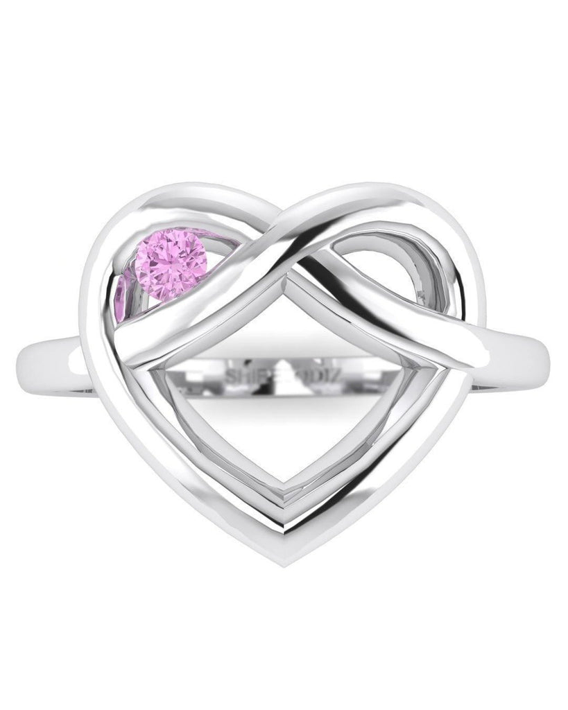 14K White Gold Purple Amethyst Promise Ring - Winking Heart - Custom Made