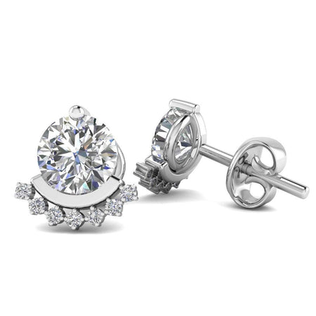EAR-14-NAT-D-SI1-EX 14k White Gold Semi Halo Diamond Stud Earrings - 0.60 carat D-SI1 Natural, Screw Backs