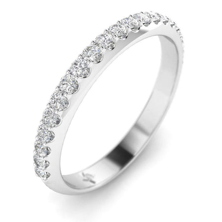 DB-14 14k White Gold Shared-Prong Pave Women's Diamond Wedding Band Ring