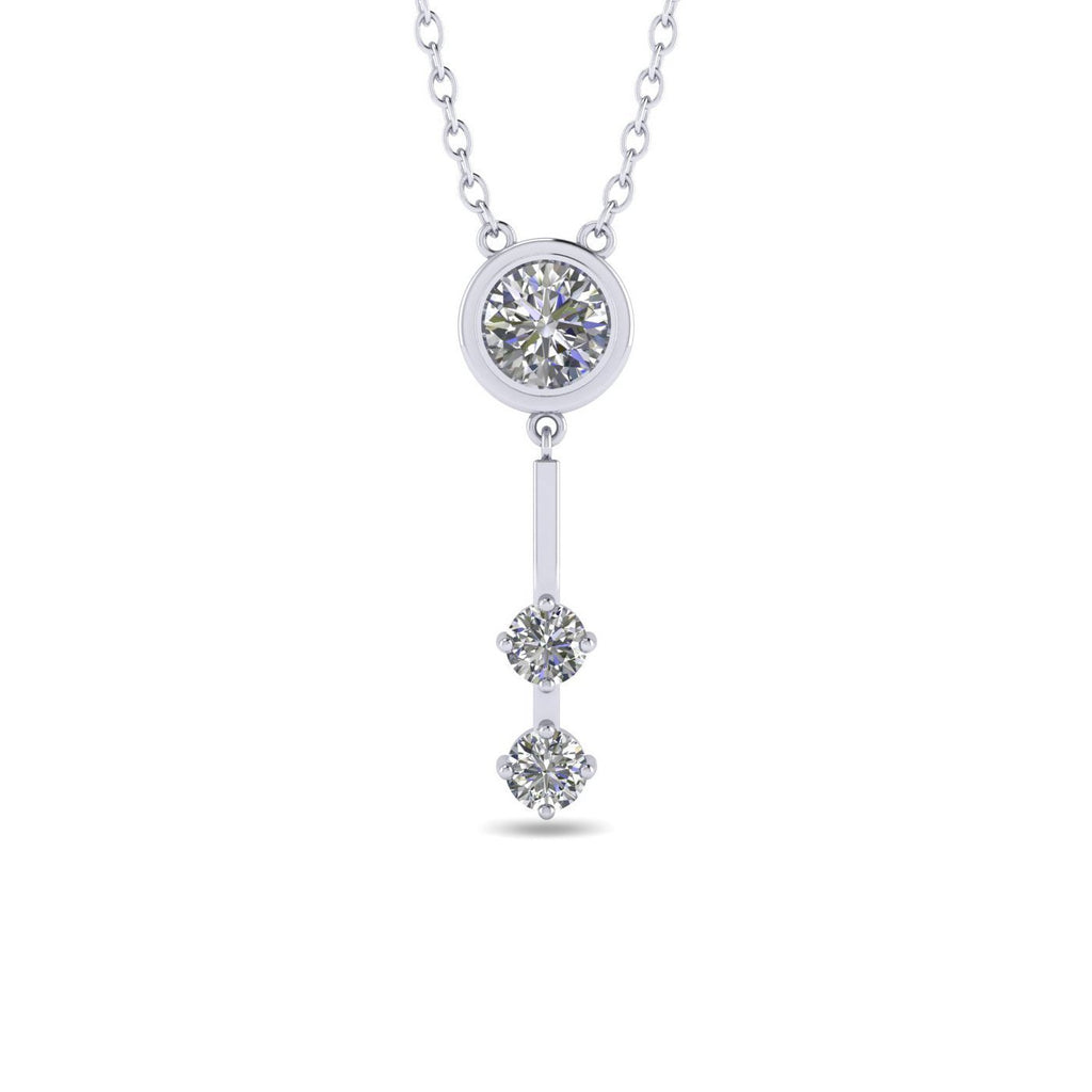 PEN-14 14k White Gold Unique Bezel Bar Diamond Pendant Necklace - 0.40 carat  D-SI1 Natural
