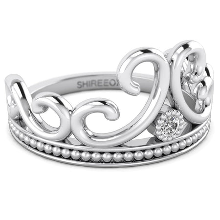 Hidden 14K White Gold Vintage Crown Promise Ring