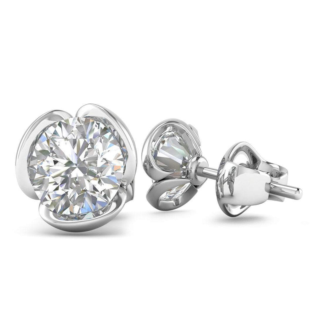 14k White Gold Vintage Flower Diamond Stud Earrings - 0.50 carat D-SI1 Natural, Screw Backs - Custom Made