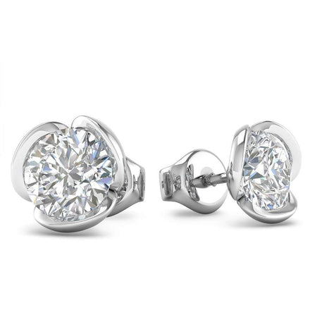 EAR-14-NAT-D-SI1-EX 14k White Gold Vintage Flower Diamond Stud Earrings - 0.60 carat D-SI1 Natural, Screw Backs