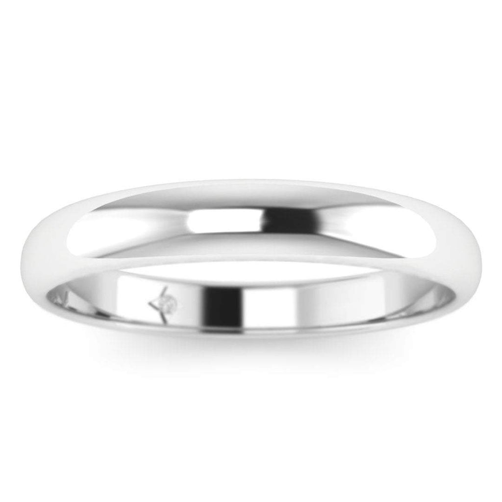 14k White Gold Wide Rounded Solid Plain Wedding Band Ring - Custom Made