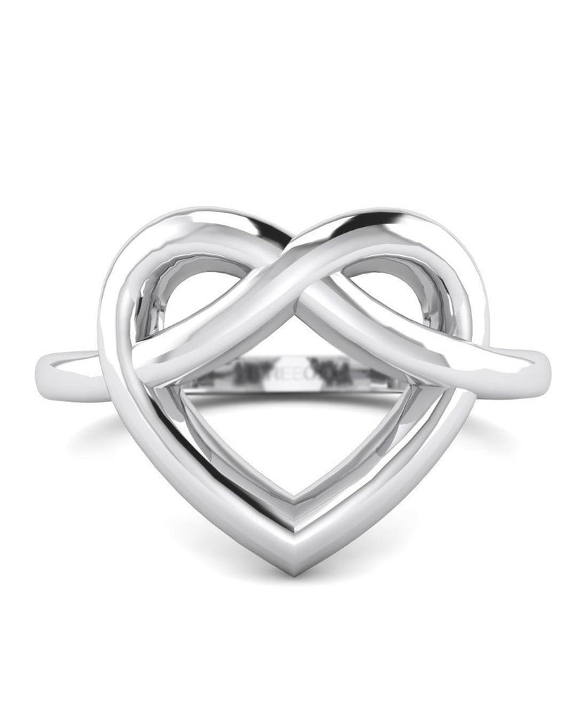 Hidden 14K White Gold Women's Heart Promise Ring