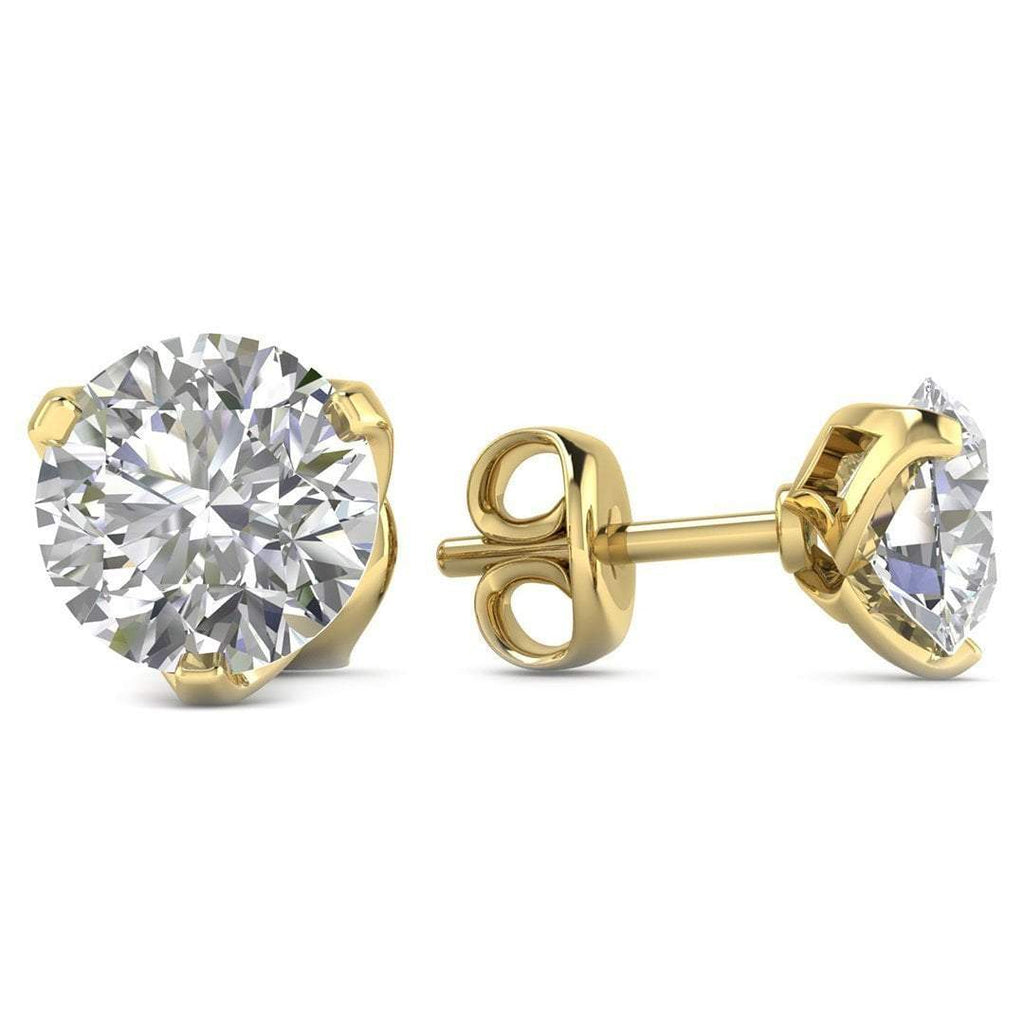 14k Yellow Gold 3-Prong Designer Diamond Stud Earrings - 2.00 carat D-SI1 Natural, Screw Backs - Custom Made