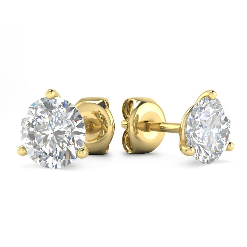 14k Yellow Gold 3-Prong Martini Diamond Stud Earrings - 2.00 carat D-SI1 Natural, Butterfly Push-Backs - Custom Made
