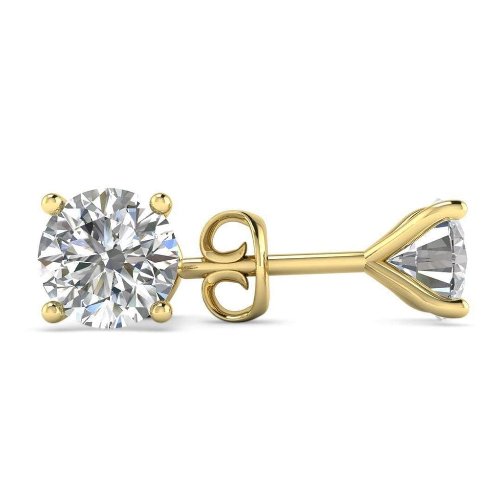 EAR-14-NAT-D-SI1-EX 14k Yellow Gold 4-Prong Martini Diamond Stud Earrings - 0.50 carat D-SI1 Natural, Screw Backs