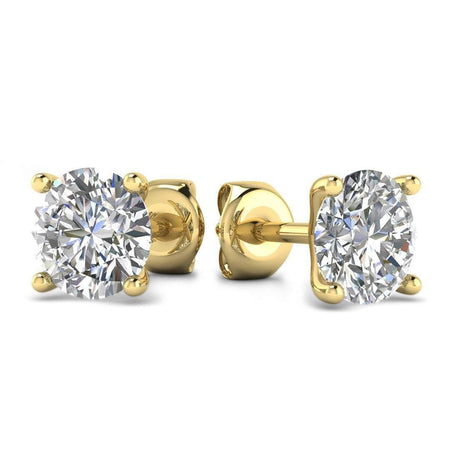 EAR-14-NAT-D-SI1-EX 14k Yellow Gold 4-Prong Martini Diamond Stud Earrings - 0.60 carat D-SI1 Natural, Screw Backs