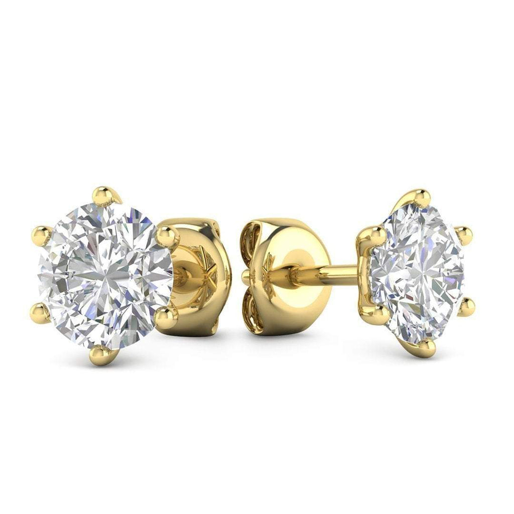 14k Yellow Gold 6-Prong Classic Diamond Stud Earrings - 2.00 carat D-SI1 Natural, Butterfly Push-Backs - Custom Made