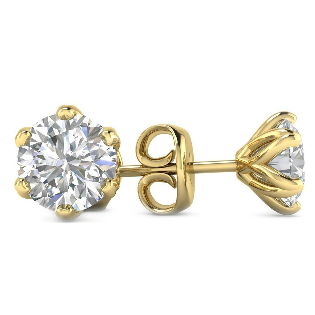 14k Yellow Gold 6-Prong Unique Diamond Stud Earrings - 1.20 carat D-SI1 Natural, Screw Backs - Custom Made