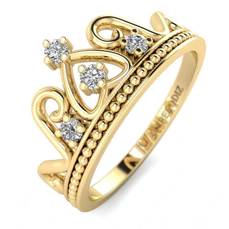 Hidden 14K Yellow Gold Antique Crown Promise Ring