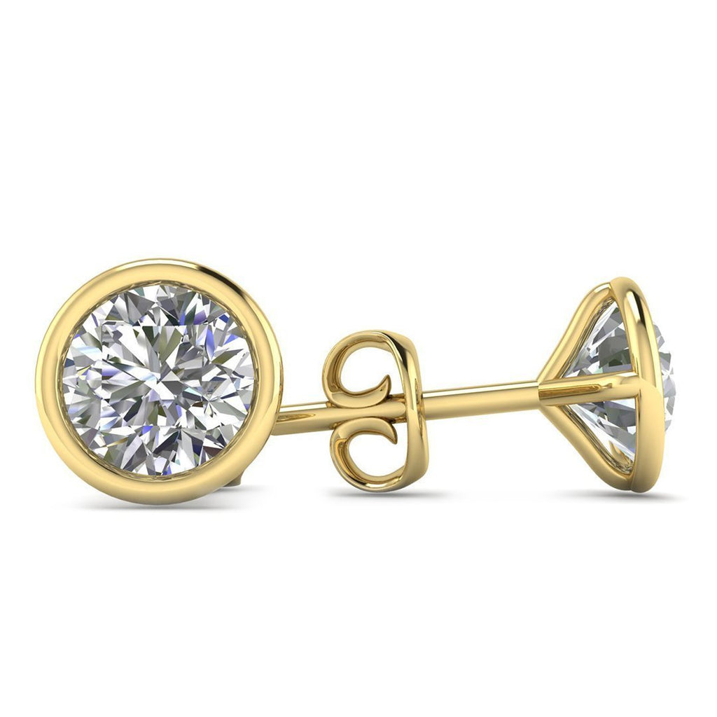 14k Yellow Gold  Bezel Set Diamond Stud Earrings - 0.60 carat D-SI1 Natural, Screw Backs - Custom Made