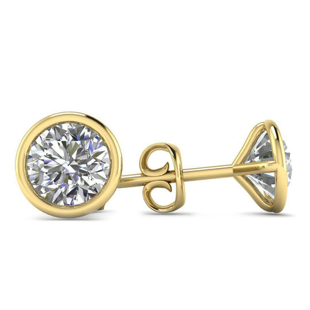 EAR-14-NAT-D-SI1-EX 14k Yellow Gold  Bezel Set Diamond Stud Earrings - 0.60 carat D-SI1 Natural, Screw Backs