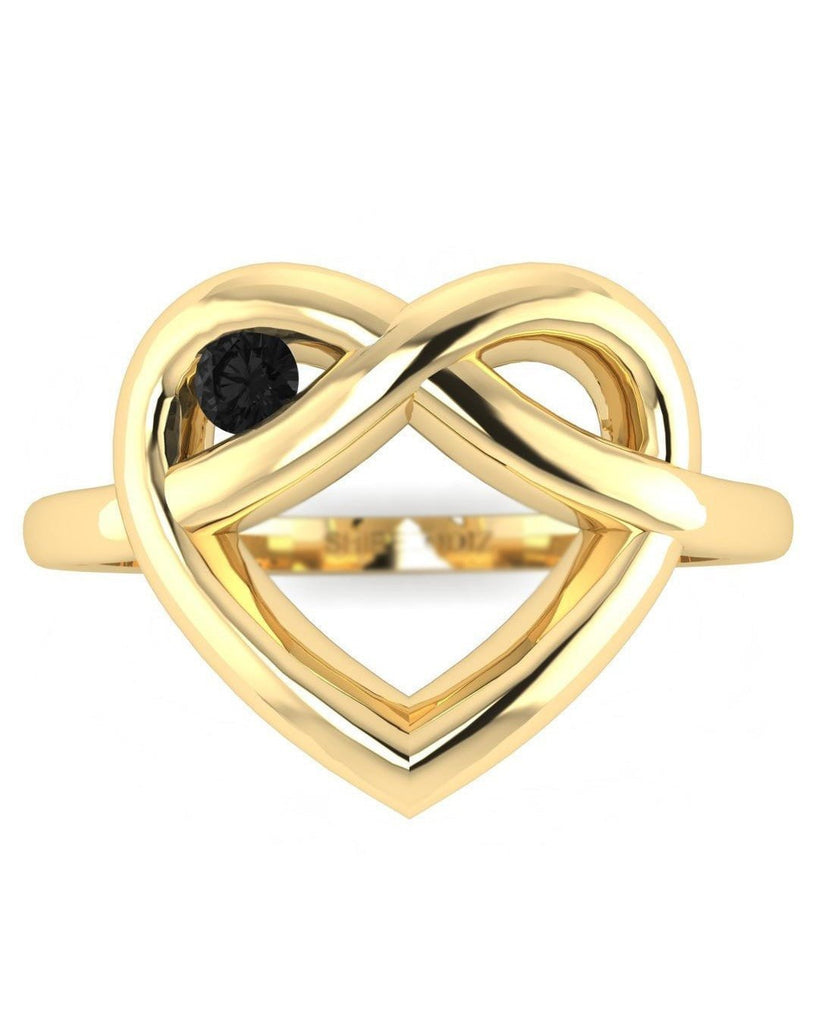 14K Yellow Gold Black Diamond Ring - Winking Heart - Custom Made