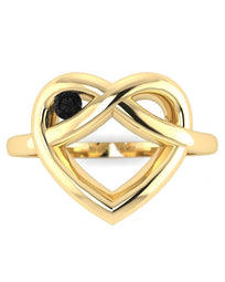 Hidden 14K Yellow Gold Black Diamond Ring - Winking Heart