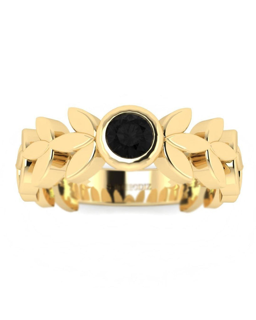 14K Yellow Gold Black Diamond Unique Ring - Leaves and Petals - Custom Made