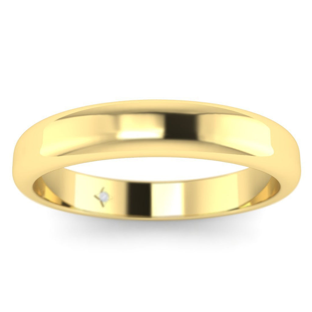 14k Yellow Gold Classic Wide Women's Plain Wedding Band Ring - Custom Made