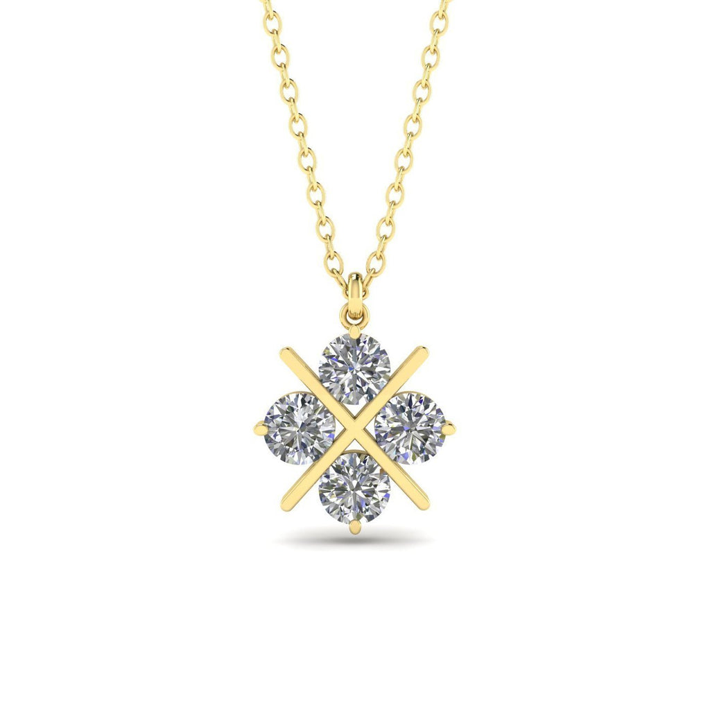 14k Yellow Gold Cross Clover Diamond Pendant Necklace - 0.60 carat  D-SI1 Natural - Custom Made