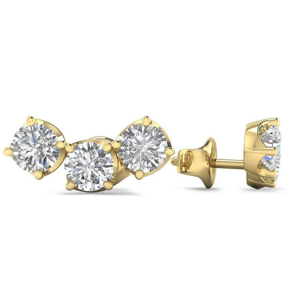 14k Yellow Gold Diamond 3-Stone Trilogy Stud Earrings - 0.60 carat D-SI1 Natural, Butterfly Push-Backs - Custom Made