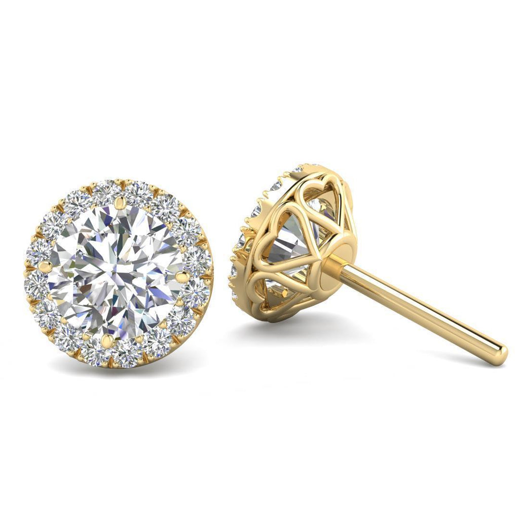 EAR-14-NAT-D-SI1-EX 14k Yellow Gold Diamond Halo Hearts Stud Earrings - 3.00 carat D-SI1 Natural, Screw Backs