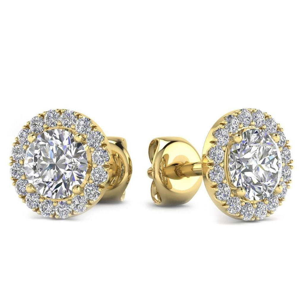 EAR-14-NAT-D-SI1-EX 14k Yellow Gold Diamond Halo Stud Earrings - 2.00 carat D-SI1 Natural, Butterfly Push-Backs