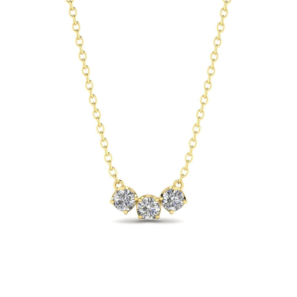 PEN-14 14k Yellow Gold Diamond Trilogy Necklace - 0.45 carat  D-SI1 Natural