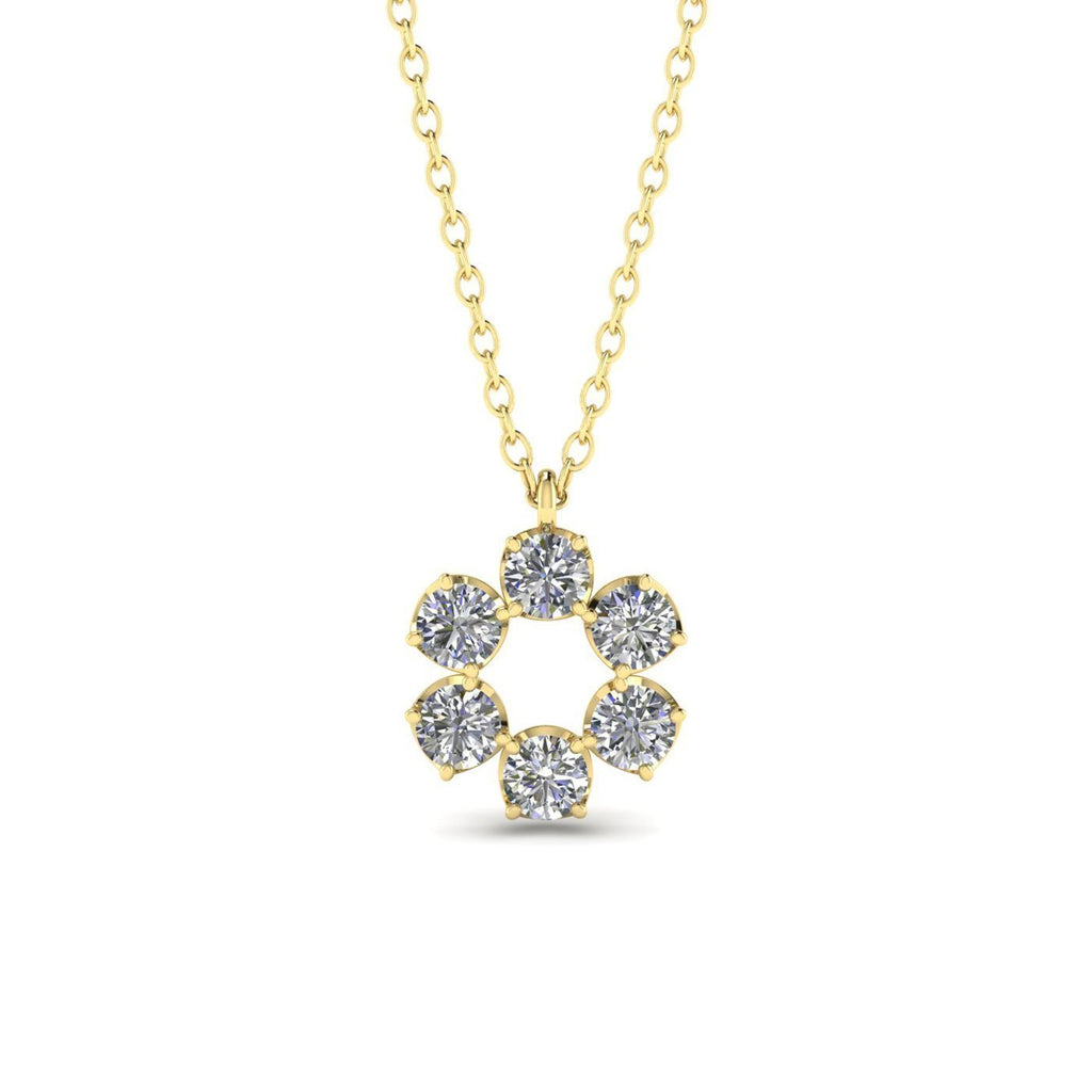 PEN-14 14k Yellow Gold Eternity Circle Halo Diamond Pendant Necklace - 0.90 carat (0.15 each) D-SI1 Natural