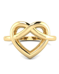 Hidden 14K Yellow Gold Heart Promise Ring for Her
