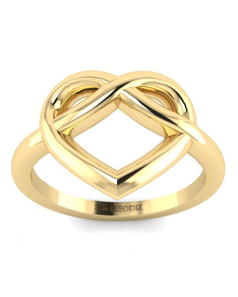 14K Yellow Gold Heart Promise Ring for Her - Custom Made