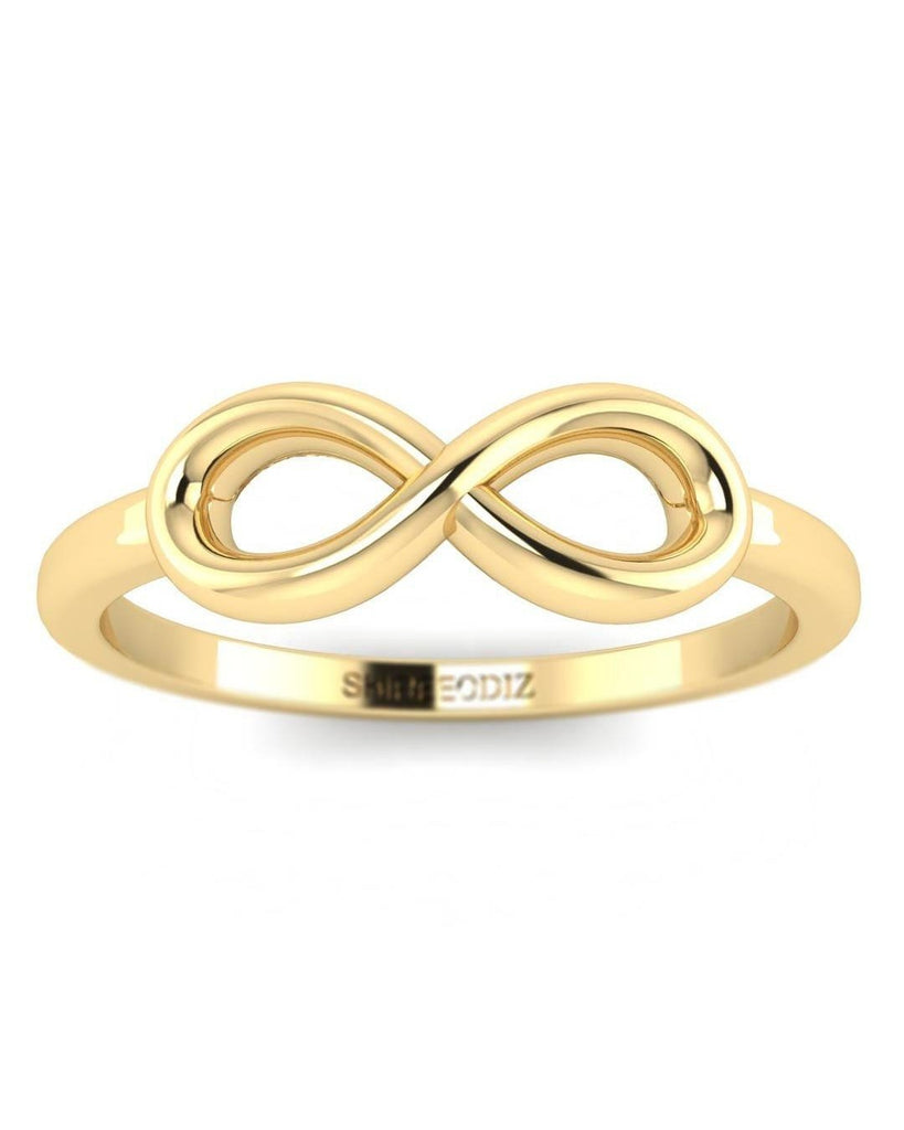 14K Yellow Gold Infinity Promise Ring For Her - Custom Made
