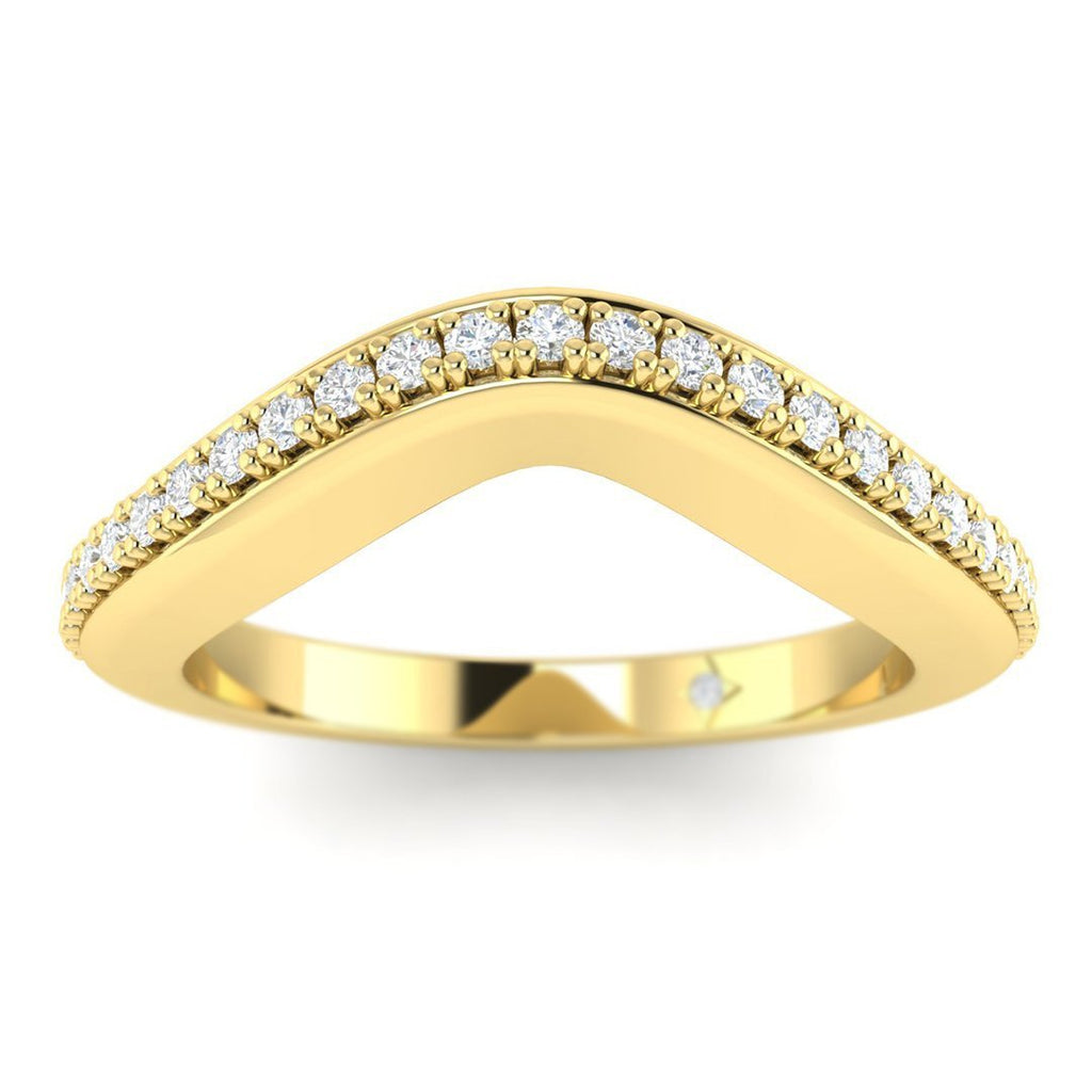 14k Yellow Gold Pave Curved Women's Diamond Wedding Band Ring - Custom Made